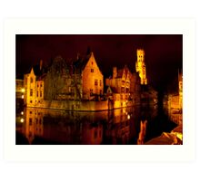Brugge by night Art Print