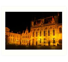 Brugge by night - Town Hall Art Print