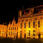 Brugge by night - Town Hall by Magdalena Warmuz-Dent