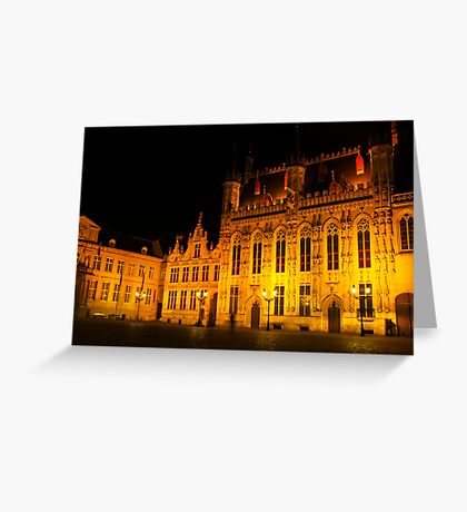 Brugge by night - Town Hall Greeting Card