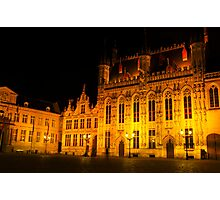 Brugge by night - Town Hall Photographic Print