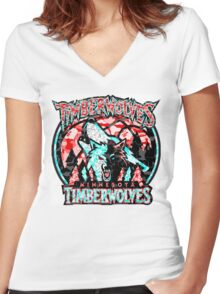 TIMBERWOLVES WHITE Women's Fitted V-Neck T-Shirt