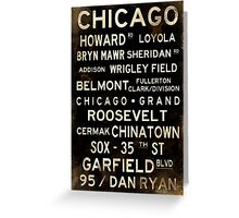 Distressed Chicago L Subway Sign Art Greeting Card