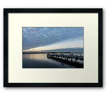 Morning Jetty - A Luminous Daybreak On Harbourfront Framed Print