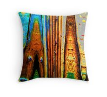 Picket wood fence Throw Pillow
