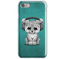 Cute Snow leopard Cub Dj Wearing Headphones on Blue iPhone Case/Skin