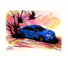 2015 Blue Subaru STi Drift Watercolor Print Art Print