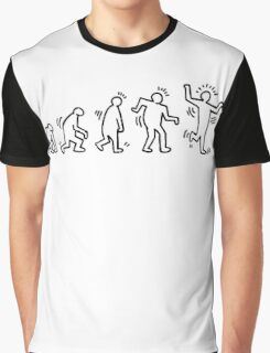 HARING EVOLVES (black) by Tai's Tees Graphic T-Shirt