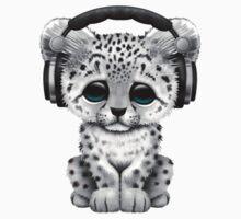 Cute Snow leopard Cub Dj Wearing Headphones  One Piece - Short Sleeve