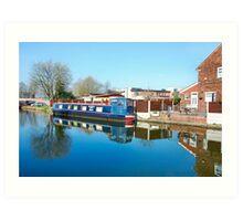 Narrow boat outside your back door. Art Print