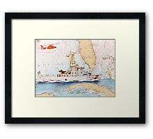 USCG Sapelo Helicopter FL Chart Map Cathy Peek Framed Print