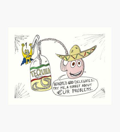 binary options news cartoon g20 tequila in mexico Art Print
