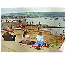 Beach scene, Weymouth, UK., 1980s. Poster