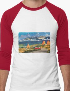 Vintage travel camper country landscape poster Men's Baseball ¾ T-Shirt
