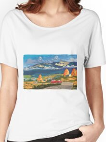 Vintage travel camper country landscape poster Women's Relaxed Fit T-Shirt