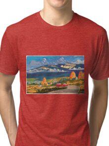 Vintage travel camper country landscape poster Tri-blend T-Shirt