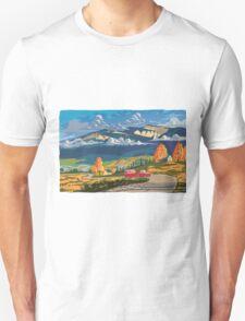 Vintage travel camper country landscape poster Unisex T-Shirt