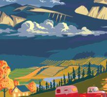 Vintage travel camper country landscape poster Sticker