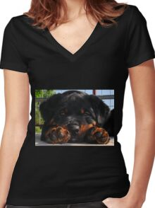 Cute Rottweiler Puppy Resting Head Between Paws Women's Fitted V-Neck T-Shirt