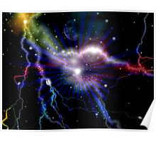 Colorful Lightning Galaxy Art Design Abstract Poster