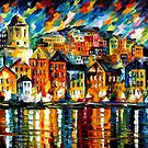GREECE - HARBOR - OIL PAINTING BY LEONID AFREMOV by Leonid  Afremov