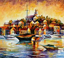 TOWN ON THE HILL - OIL PAINTING BY LEONID AFREMOV by Leonid  Afremov