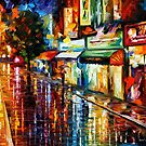 NIGHT RAIN - OIL PAINTING BY LEONID AFREMOV by Leonid  Afremov