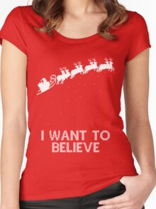 I Want To Believe Santa Women's Fitted Scoop T-Shirt
