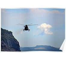 Helicopter Flying Over Charmouth Poster
