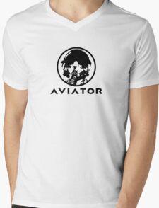 Aviator Fighter Pilot Mens V-Neck T-Shirt