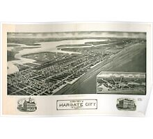 Panoramic Maps Aeroview of Margate City New Jersey 1925 Poster