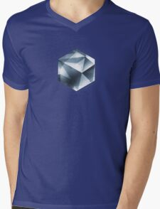 Abstract geometric triangle pattern ( Carol Cubism Style) in ice silver - gray Mens V-Neck T-Shirt