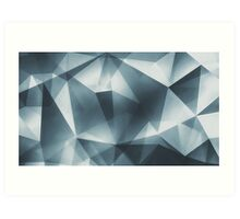 Abstract geometric triangle pattern ( Carol Cubism Style) in ice silver - gray Art Print