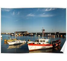 Bridlington harbour in summer light Poster