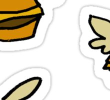 flying cheeseburgers Sticker