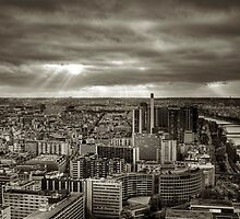 Sun Rays Over Paris - HDR Black & White by dhwee