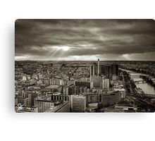 Sun Rays Over Paris - HDR Black & White Canvas Print