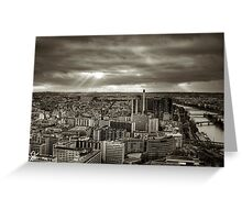 Sun Rays Over Paris - HDR Black & White Greeting Card
