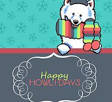 Samoyed Happy Howlidays by offleashart