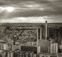 Sun Rays Over Paris - HDR Black & White Sticker