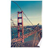 Golden Gate Bridge - through the fence Poster