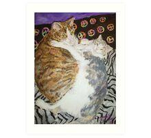 Peaceful Cats Art Print