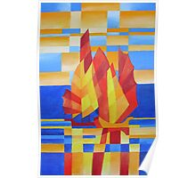 Sailing on the Seven Seas so Blue Cubist Abstract Poster