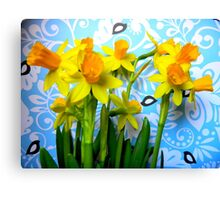 Daffodils with Blue and Birds  Canvas Print