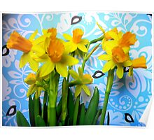 Daffodils with Blue and Birds  Poster