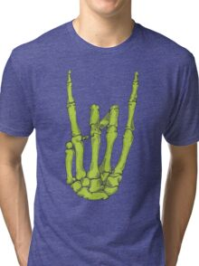 Rock On Skeleton Hand - Green Tri-blend T-Shirt