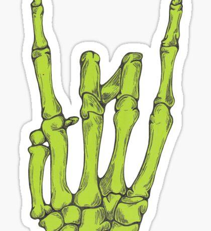 Rock On Skeleton Hand - Green Sticker