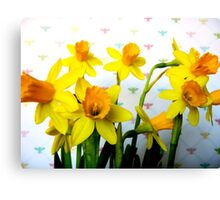 Daffodils with Colorful Bees Canvas Print