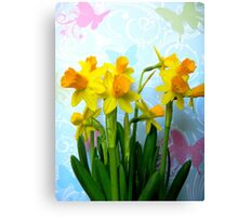 Daffodils with Colorful Butterflies Canvas Print