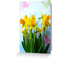 Daffodils with Colorful Butterflies Greeting Card
